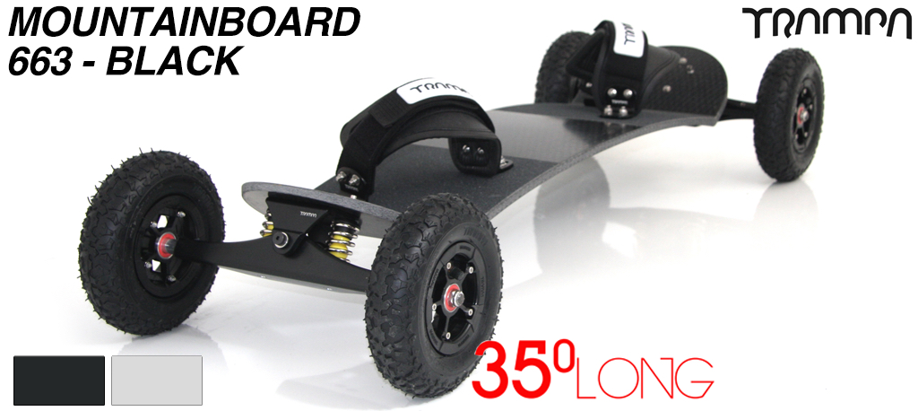 35º Long TRAMPA deck on INFINITY Trucks SUPERSTAR Wheels & VELCRO Bindings - 663 BLACK MOUNTAINBOARD