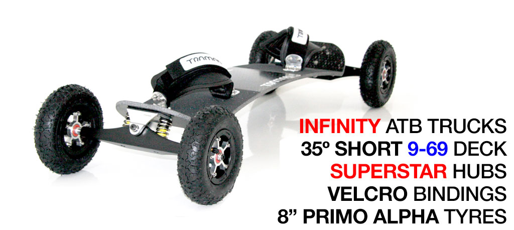 35º Short TRAMPA deck on INFINITY Trucks SUPERSTAR Wheels & VELCRO Bindings - 662 SILVER MOUNTAINBOARD