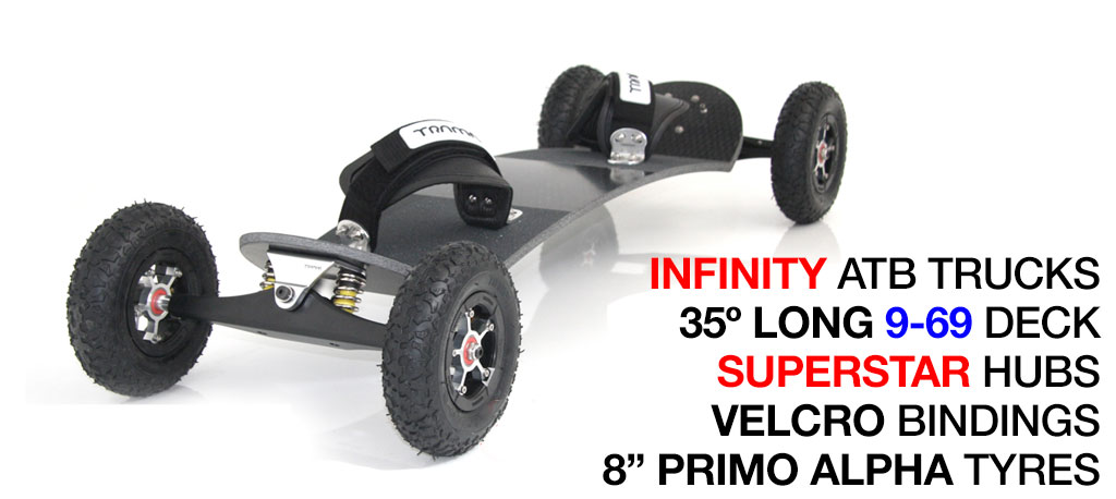 35º Long TRAMPA deck on INFINITY Trucks SUPERSTAR Wheels & VELCRO Bindings - 663 SILVER MOUNTAINBOARD