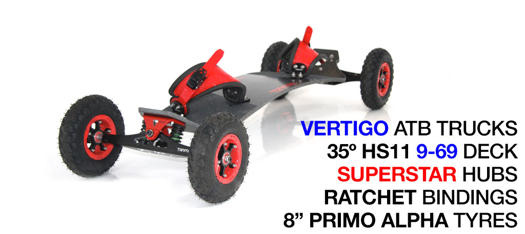 35º HOLYPRO TRAMPA deck on VERTIGO Truck, SUPERSTAR Wheels & RATCHET Bindings - 529 RED MOUNTAINBOARD