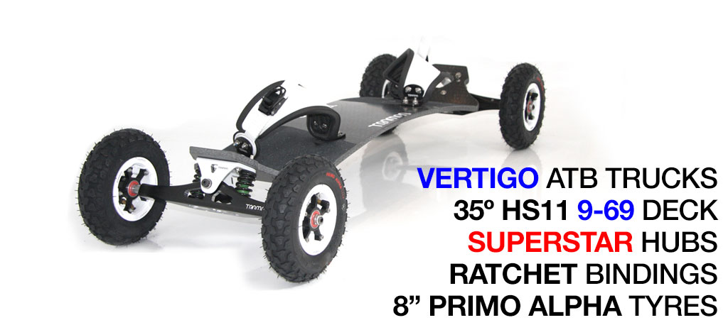 35º HOLYPRO TRAMPA deck on VERTIGO Trucks SUPERSTAR Wheels & RATCHET Bindings - 529 WHITE MOUNTAINBOARD
