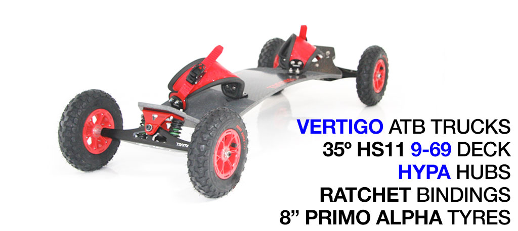 35º HOLYPRO TRAMPA deck on VERTIGO Trucks with HYPA Wheels & RATCHET Bindings - 676 RED MOUNTAINBOARD