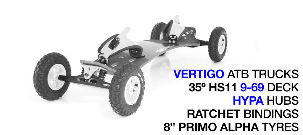 35º HOLYPRO TRAMPA deck on VERTIGO Trucks with HYPA Wheels & RATCHET Bindings - 676 WHITE MOUNTAINBOARD