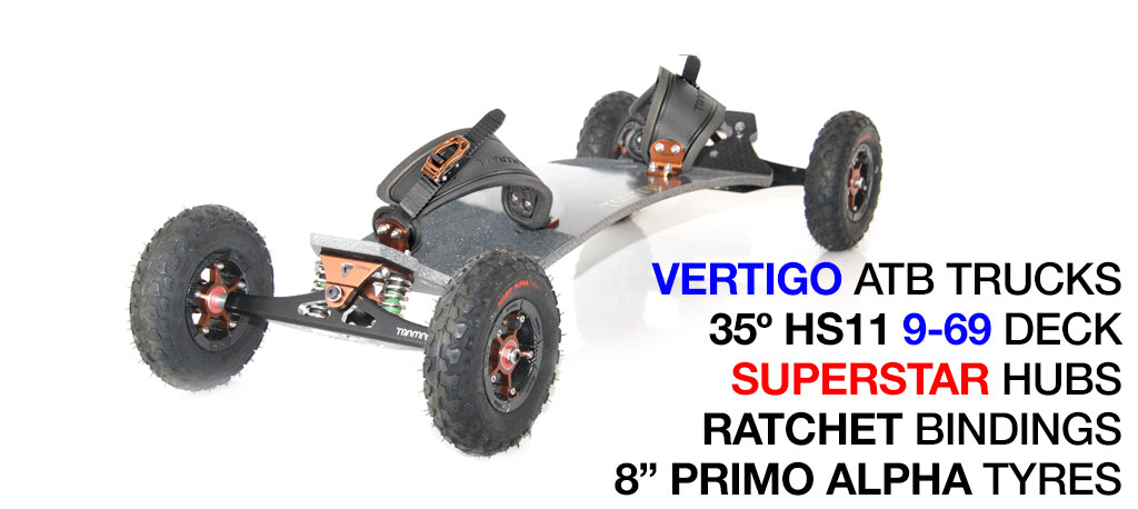 Mountainboard - 35� HOLY PRO Deck On VERTIGO Trucks With 8 Inch SUPERSTAR Wheels & RATCHET bindings - Bronze