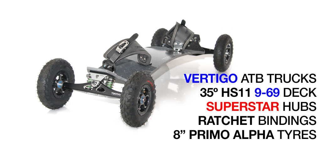 Mountainboard - 35� HOLY PRO Deck On VERTIGO Trucks With 8 Inch SUPERSTAR Wheels & RATCHET bindings - Gunmetal
