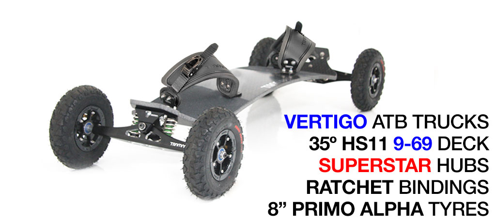Mountainboard - 35� HOLY PRO Deck On VERTIGO Trucks With 8 Inch SUPERSTAR Wheels & RATCHET bindings - Black