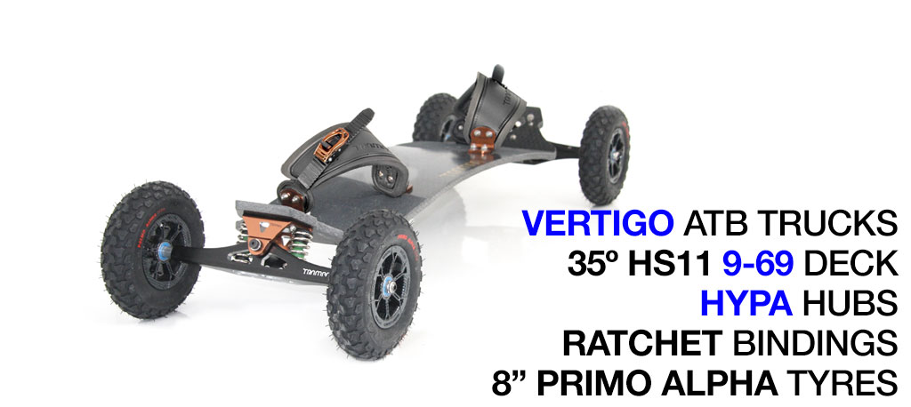Mountainboard - 35� HOLY PRO Deck On VERTIGO Trucks With 8 Inch HYPA Wheels & RATCHET bindings - Bronze