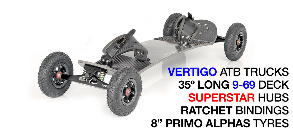 Mountainboard - 35� Long Deck On VERTIGO Trucks With 8 Inch HYPA Wheels & RATCHET bindings - Black