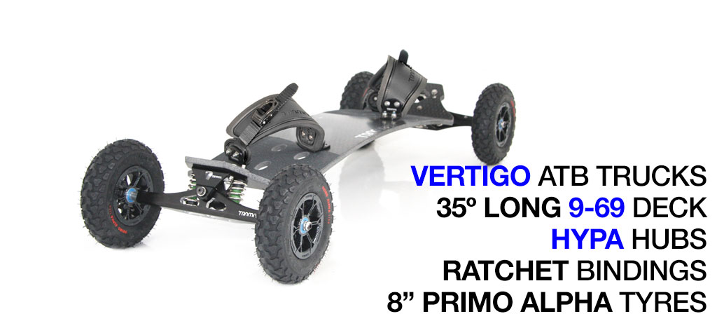 Mountainboard - 35� HOLY PRO Deck On VERTIGO Trucks With 8 Inch HYPA Wheels & RATCHET bindings - Black