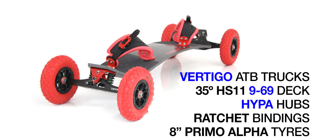 35º HOLYPRO TRAMPA deck on VERTIGO Trucks with HYPA Wheels & RATCHET Bindings - 720 RED MOUNTAINBOARD