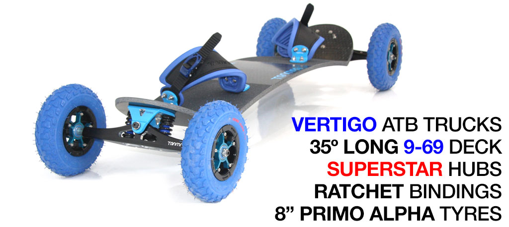35º Long TRAMPA deck on VERTIGO Trucks SUPERSTAR Wheels & RATCHET Bindings - 713 BLUE MOUNTAINBOARD