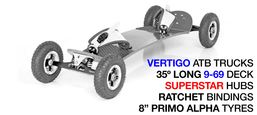 35º Long TRAMPA deck on VERTIGO Trucks with SUPERSTAR Wheels & RATCHET Bindings - 713 WHITE MOUNTAINBOARD