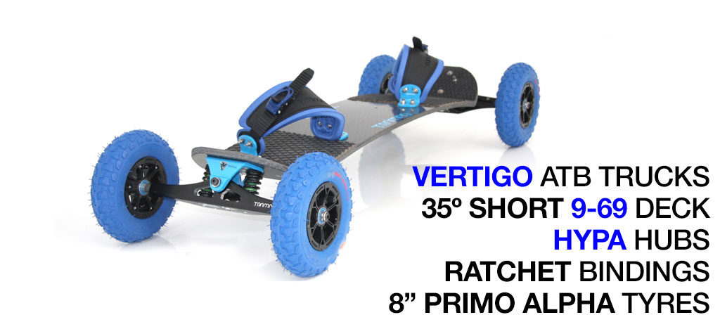 Mountainboard - 35� Short Deck On VERTIGO Trucks With 8 Inch HYPA Wheels & RATCHET bindings - Blue