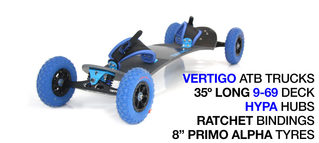 Mountainboard - 35� Long Deck On VERTIGO Trucks With 8 Inch HYPA Wheels & RATCHET bindings - Blue