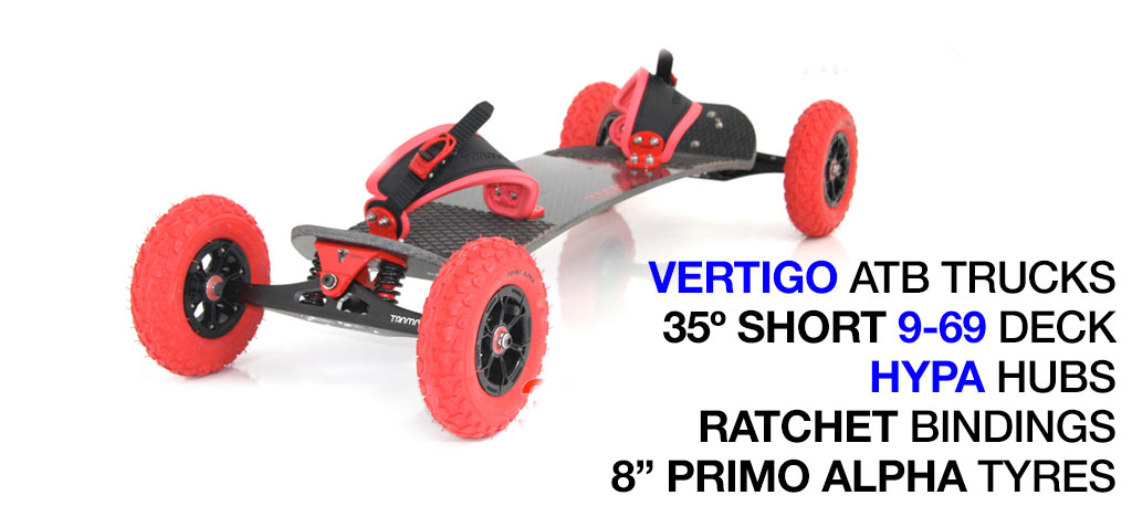 35º Short Deck TRAMPA deck on VERTIGO Trucks with HYPA Wheels & RATCHET Bindings - 718 RED MOUNTAINBOARD