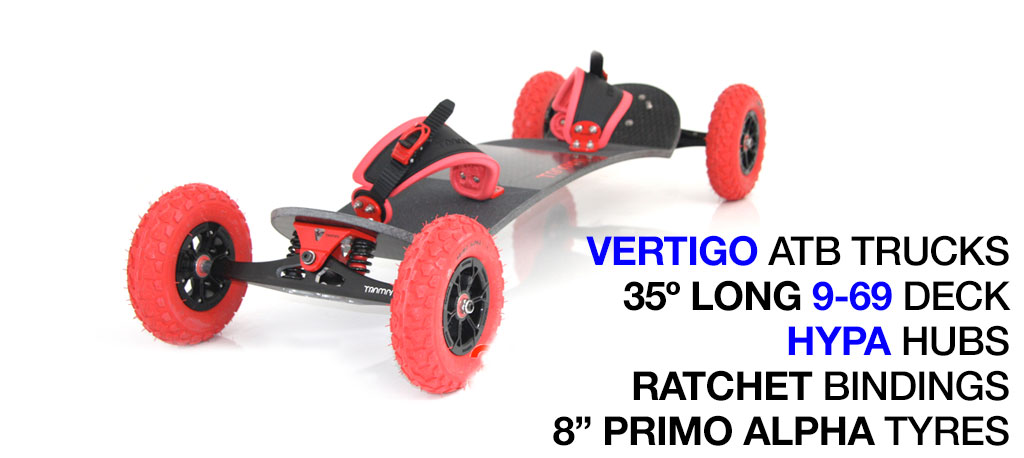 35º Long Deck TRAMPA deck on VERTIGO Trucks with HYPA Wheels & RATCHET Bindings - 719 RED MOUNTAINBOARD