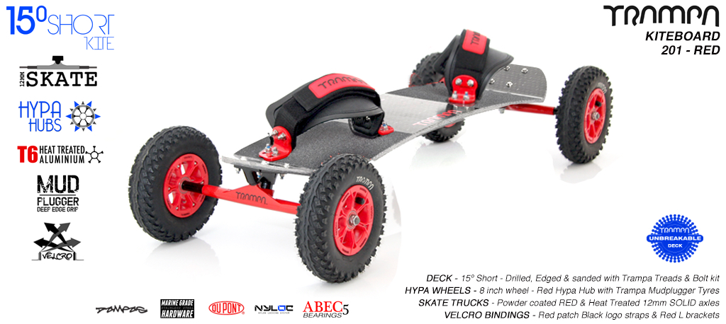 15° Short TRAMPA Deck on 12mm SOLID axle Skate Trucks with HYPA wheels & VELCRO Bindings -  201a RED KITEBOARD