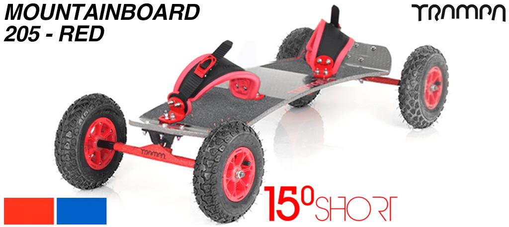 15º HOLYPRO TRAMPA deck on 12mm HOLLOW axle Skate Trucks with HYPA wheels & RATCHET Bindings - 205b RED MOUNTAINBOARD