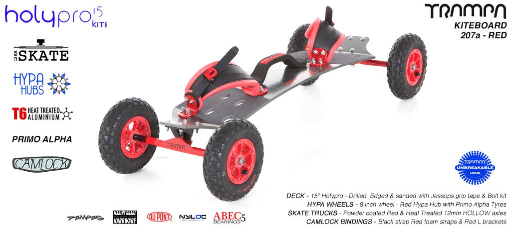 15° HOLYPRO TRAMPA Deck on 12mm HOLLOW axle Skate Trucks with HYPA wheels & CAMLOCK Bindings - 207a RED KITEBOARD