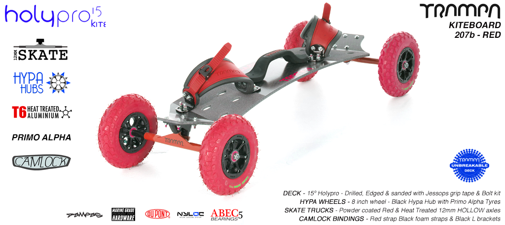 15° HOLYPRO TRAMPA Deck on 12mm HOLLOW axle Skate Trucks with HYPA wheels & CAMLOCK Bindings - 207b RED KITEBOARD