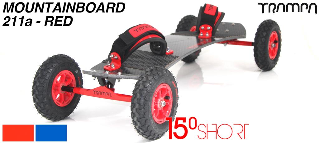 15º HOLYPRO TRAMPA deck on 12mm HOLLOW axle Skate Trucks with HYPA wheels & LUXURY velcro Bindings - 211a  RED MOUNTAINBOARD