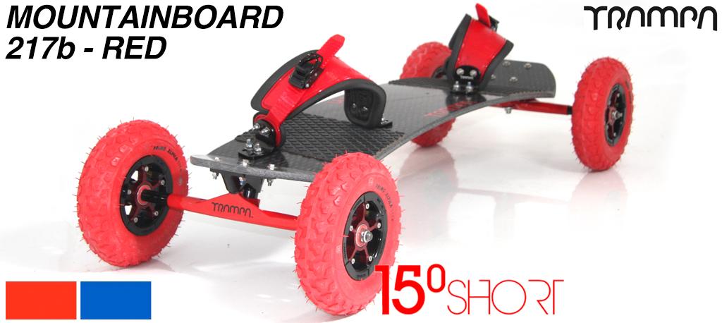 15º HOLYPRO TRAMPA deck on 12mm HOLLOW axle Skate Trucks with SUPERSTAR wheels & RATCHET Bindings - 217b RED MOUNTAINBOARD