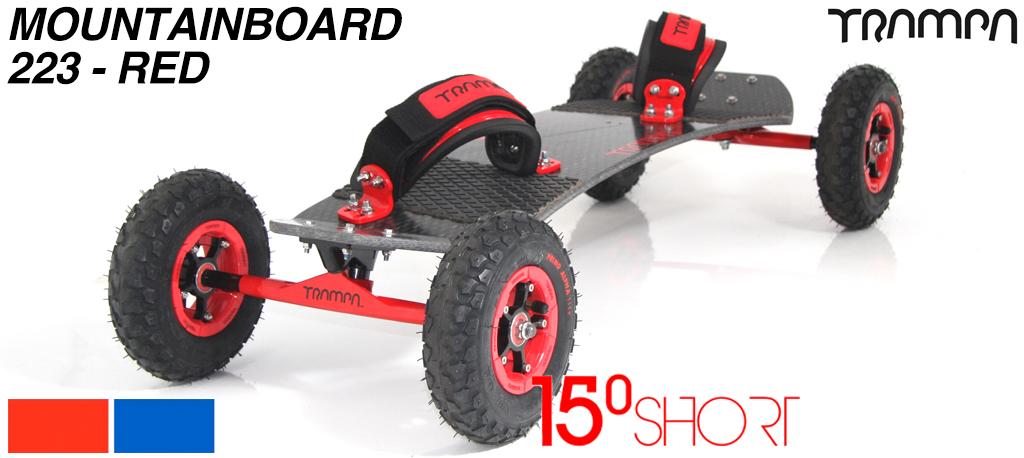 15º HOLYPRO TRAMPA deck on 12mm HOLLOW axle Skate Trucks with SUPERSTAR wheels & LUXURY velcro Bindings - 223a RED MOUNTAINBOARD