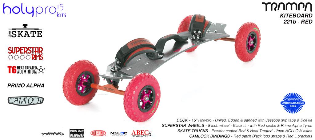15° HOLYPRO TRAMPA Deck on 12mm HOLLOW axle Skate Trucks with SUPERSTAR wheels & LUXURY velcro Bindings - 221b RED KITEBOARD