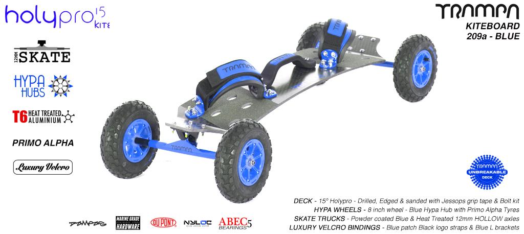 15° HOLYPRO TRAMPA Deck on 12mm HOLLOW axle Skate Trucks with HYPA wheels & LUXURY velcro Bindings - 209a BLUE KITEBOARD