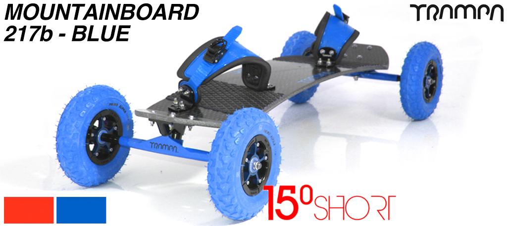 15º HOLYPRO TRAMPA deck on 12mm HOLLOW axle Skate Trucks with SUPERSTAR wheels & RATCHET velcro Bindings - 217b BLUE MOUNTAINBOARD