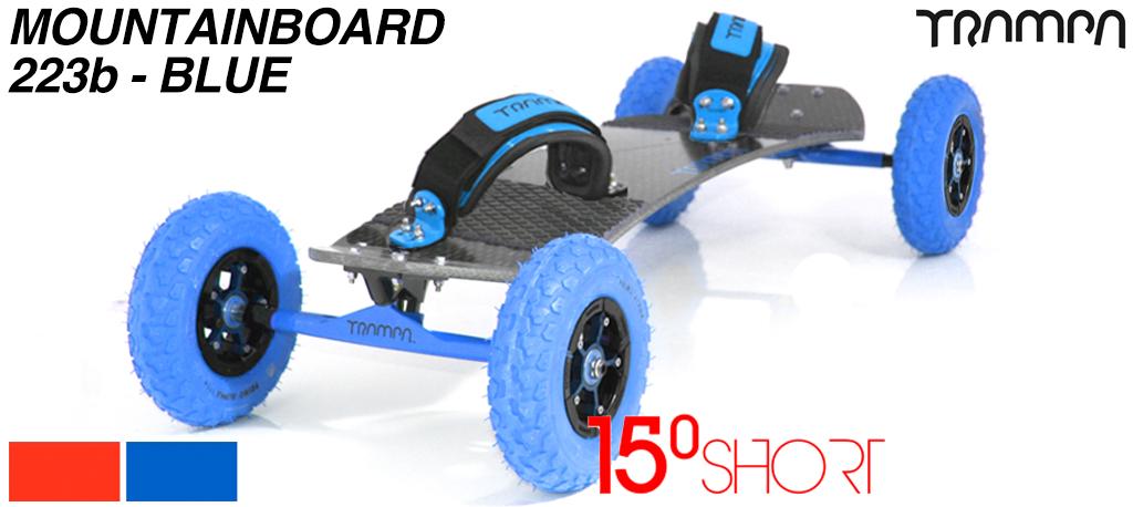 15º HOLYPRO TRAMPA deck on 12mm HOLLOW axle Skate Trucks with SUPERSTAR wheels & LUXURY velcro Bindings - 223b BLUE MOUNTAINBOARD
