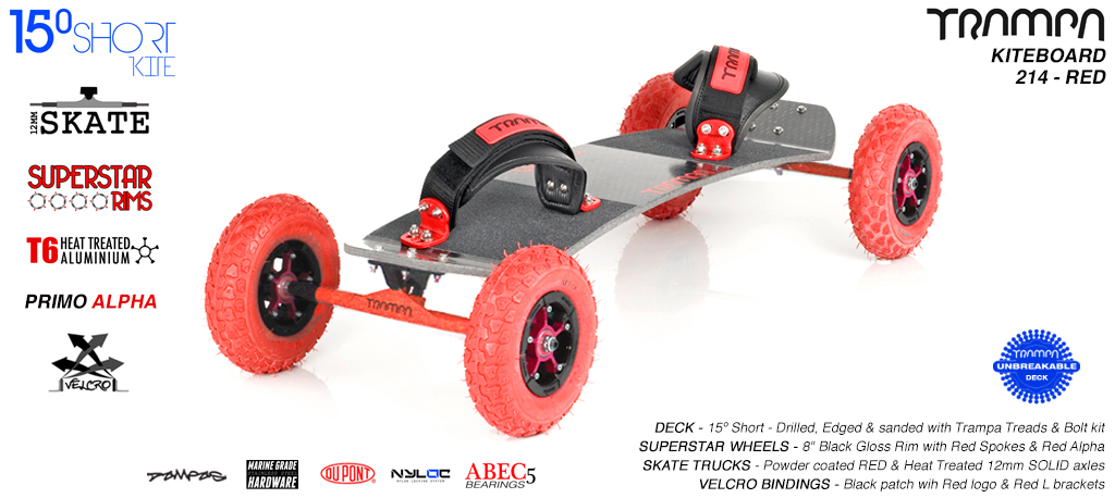 15° Short TRAMPA Deck on 12mm SOLID axle Skate Trucks with SUPERSTAR wheels & VELCRO Bindings - 213b RED KITEBOARD