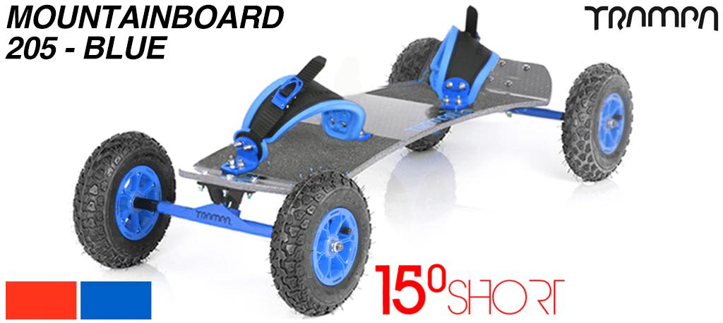 15º HOLYPRO deck on 12mm HOLLOW axle Skate Trucks with HYPA wheels & RATCHET Bindings - 205a BLUE MOUNTAINBOARD