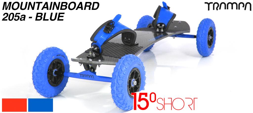 15º HOLYPRO TRAMPA deck on 12mm HOLLOW axle Skate Trucks with HYPA wheels & RATCHET Bindings - 205b Blue MOUNTAINBOARD