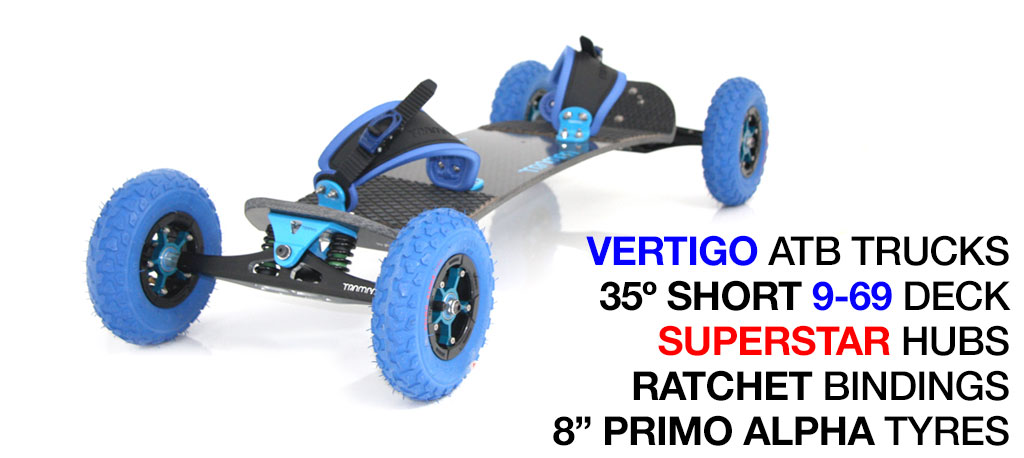 35º Short TRAMPA deck on VERTIGO Trucks SUPERSTAR Wheels & RATCHET Bindings - 712 BLUE MOUNTAINBOARD