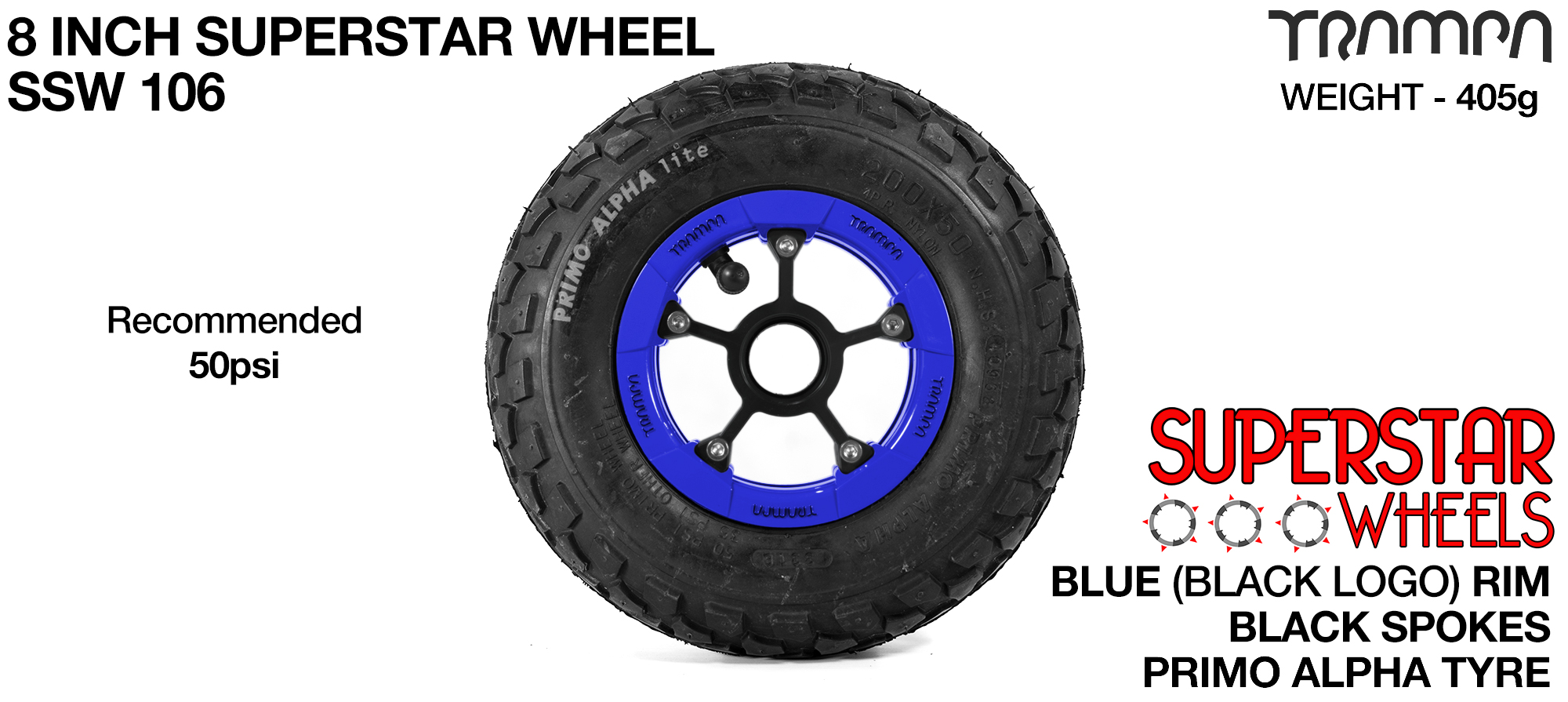 Superstar wheel - Blue Gloss Rim with Black Anodised Spokes and Black Alpha Tyre - 8 inch wheel