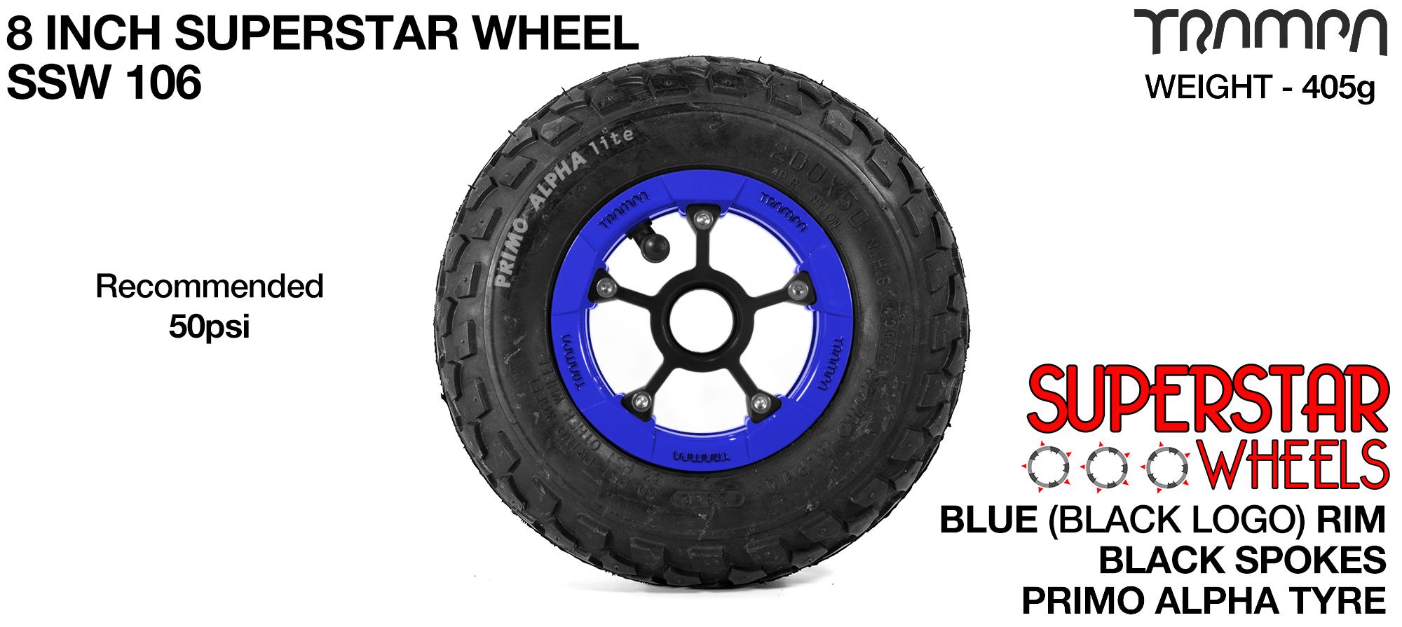 Superstar 8 inch wheels -  Blue Gloss & Black Logo Rim Black Anodised Spokes & Black Alpha 8 inch Tyre