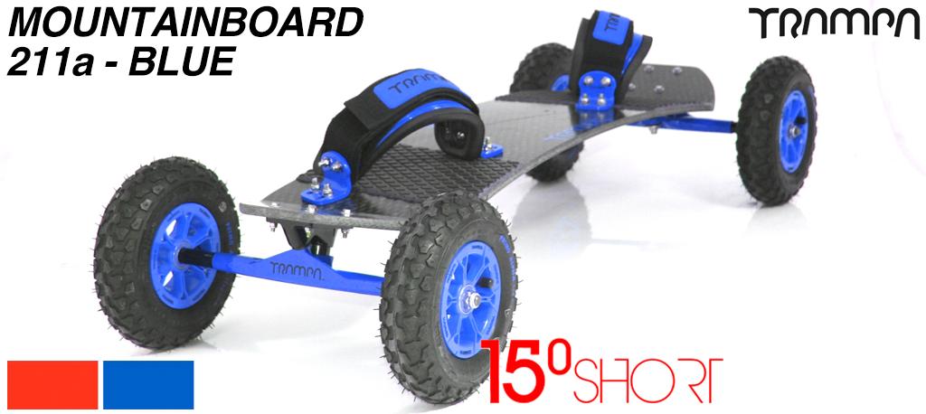 15º HOLYPRO TRAMPA deck on 12mm HOLLOW axle Skate Trucks with HYPA wheels & LUXURY velcro Bindings - 211b BLUE MOUNTAINBOARD