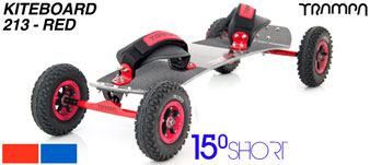 15° Short TRAMPA Deck on 12mm SOLID axle Skate Trucks with SUPERSTAR wheels & VELCRO Bindings - 213a RED KITEBOARD