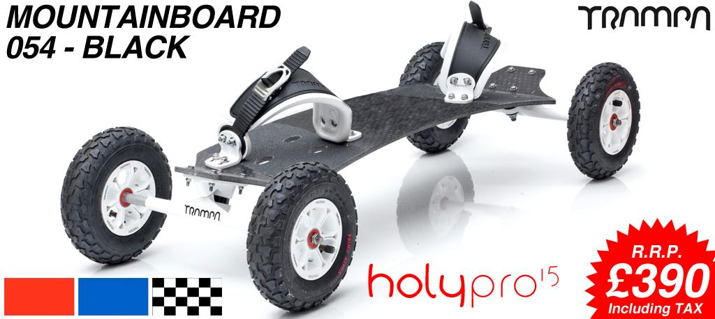 15º HOLYPRO TRAMPA deck on 10mm TITANIUM Trucks HYPA wheels & RATCHET Bindings - 054 BLACK MOUNTAINBOARD