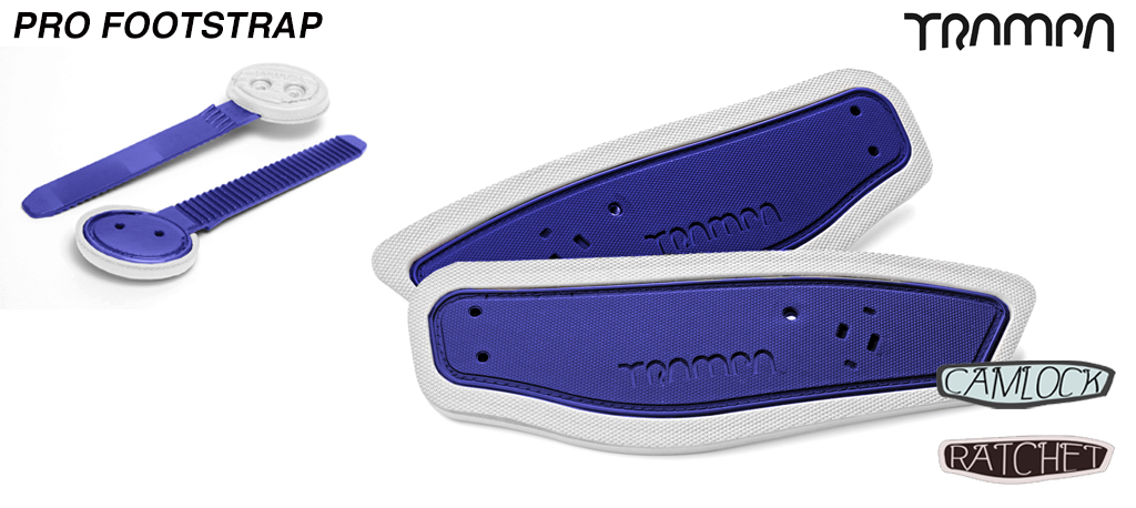 Ratchet Binding Footstrap & Ladder - Blue straps on White foam