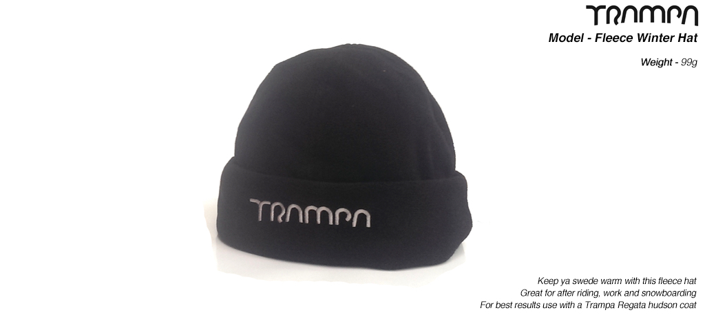 BLACK Fleece style Wooli Winter Hat with SILVER TRAMPA logo.
