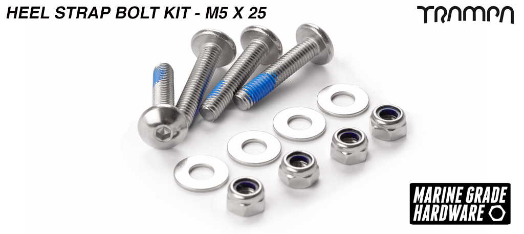 M5 x 25mm Marine grade Stainless Steel Dome Headed Bolt kit for attaching Heel Straps to All Bindings