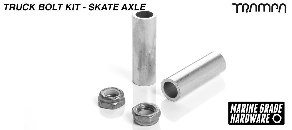 9.525mm Skate Truck Axle re-fresh kit - 9.525 x 13.525 x 44mm Long Spacer with 3/8ths Marine Grade Stainless Steel Special Axle HALF Nut