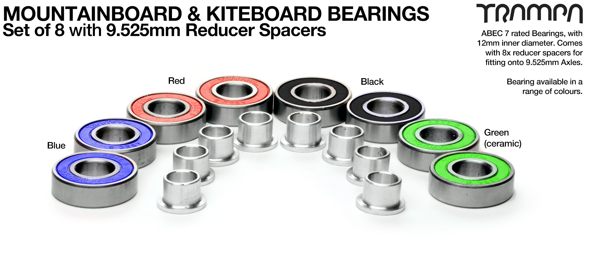 8x 12x28mm Mountainboard Bearings with 9.525mm reducer spacers