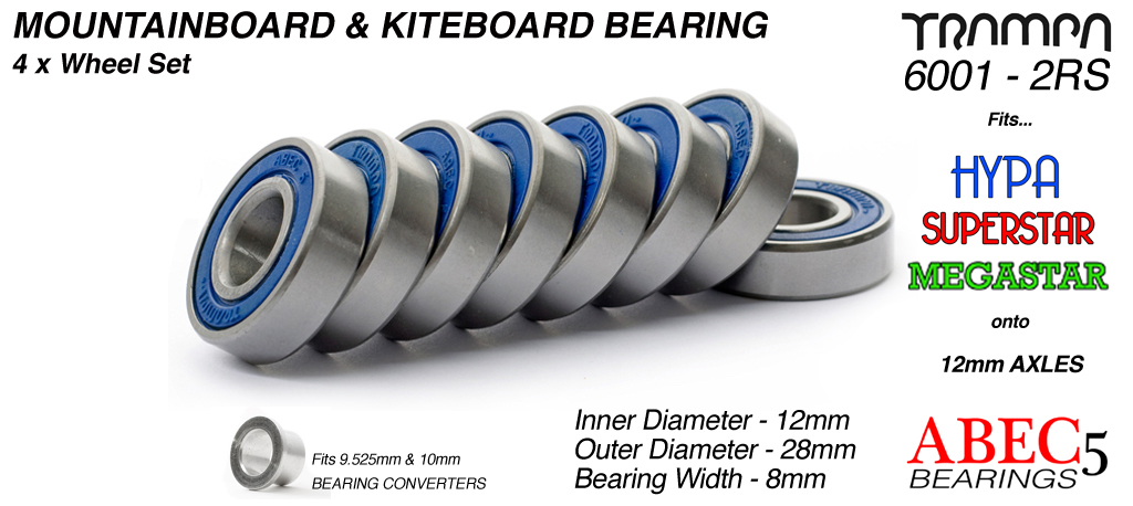 Trampa Bearings 12mm axle ABEC 5 rated  BLUE Set of 8
