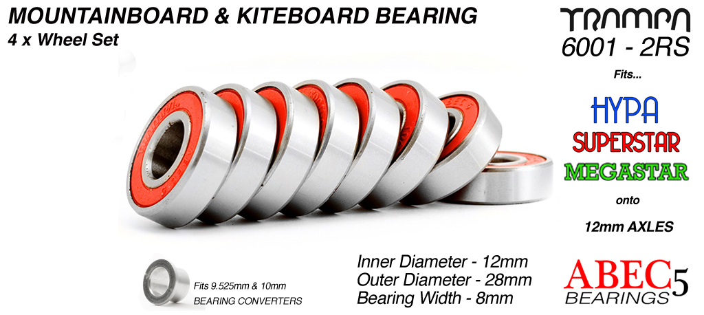 Trampa Bearings 12mm axle ABEC 5 rated  RED Set of 8
