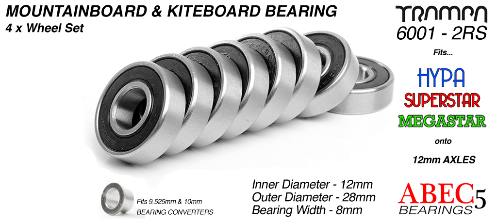 TRAMPA Bearings 12mm axle ABEC 5 rated BLACK - Set of 8 including Internal bearing support spacers & Anti Vibration Rubber O-Rings