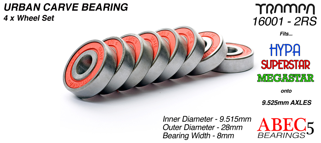 Trampa Bearings 10mm axle ABEC 5 rated RED Set of 8