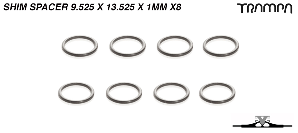 Shim spacer - used to bridge tiny gaps on axles - 9.525mm (id) x 13.525mm (od) x 1mm (long) x8